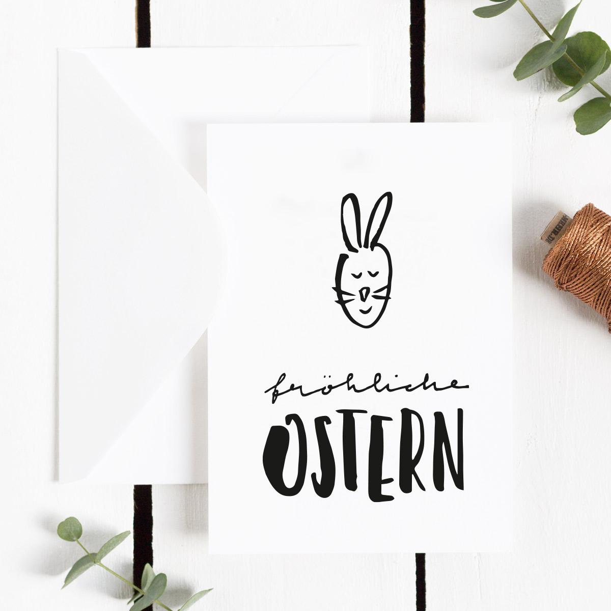 Freebie Postkarte Fröhliche Ostern in schwarzweiß mit Hasen-Motiv