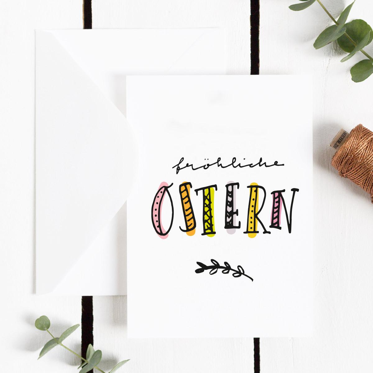 Freebie Postkarte mit bunten Schriftzug Fröhliche Ostern