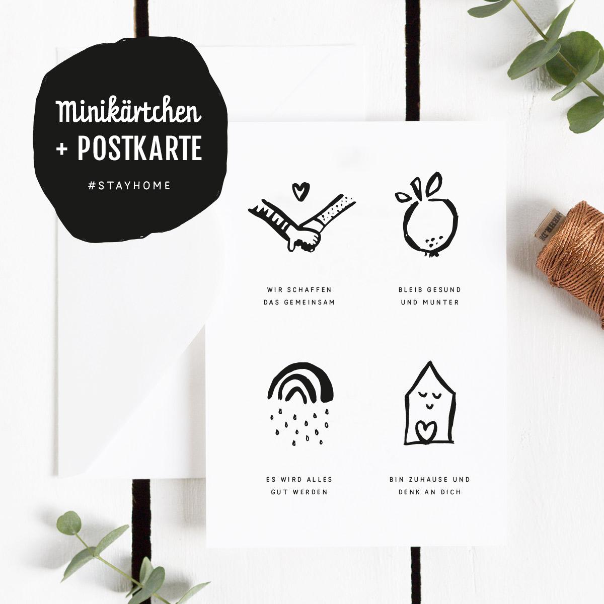 Freebie Postkarte mit Mini-Kärtchen #stayhome in schwarzweiß