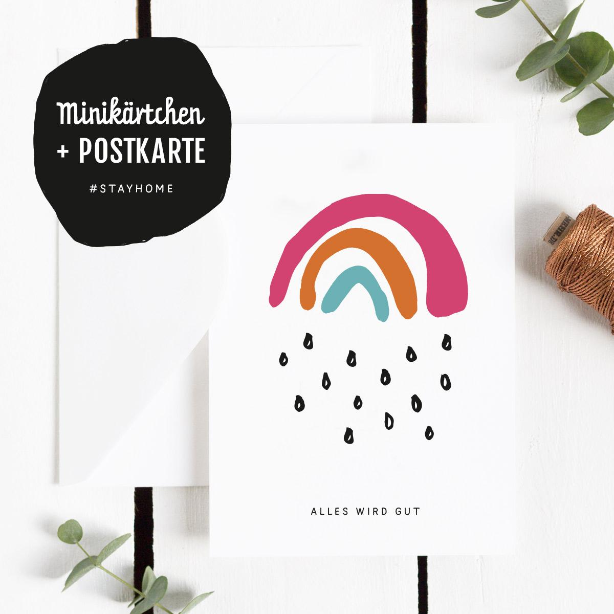 Freebie Postkarte Alles wird gut mit Mini-Kärtchen und dem Motiv Kleiner Regenbogen