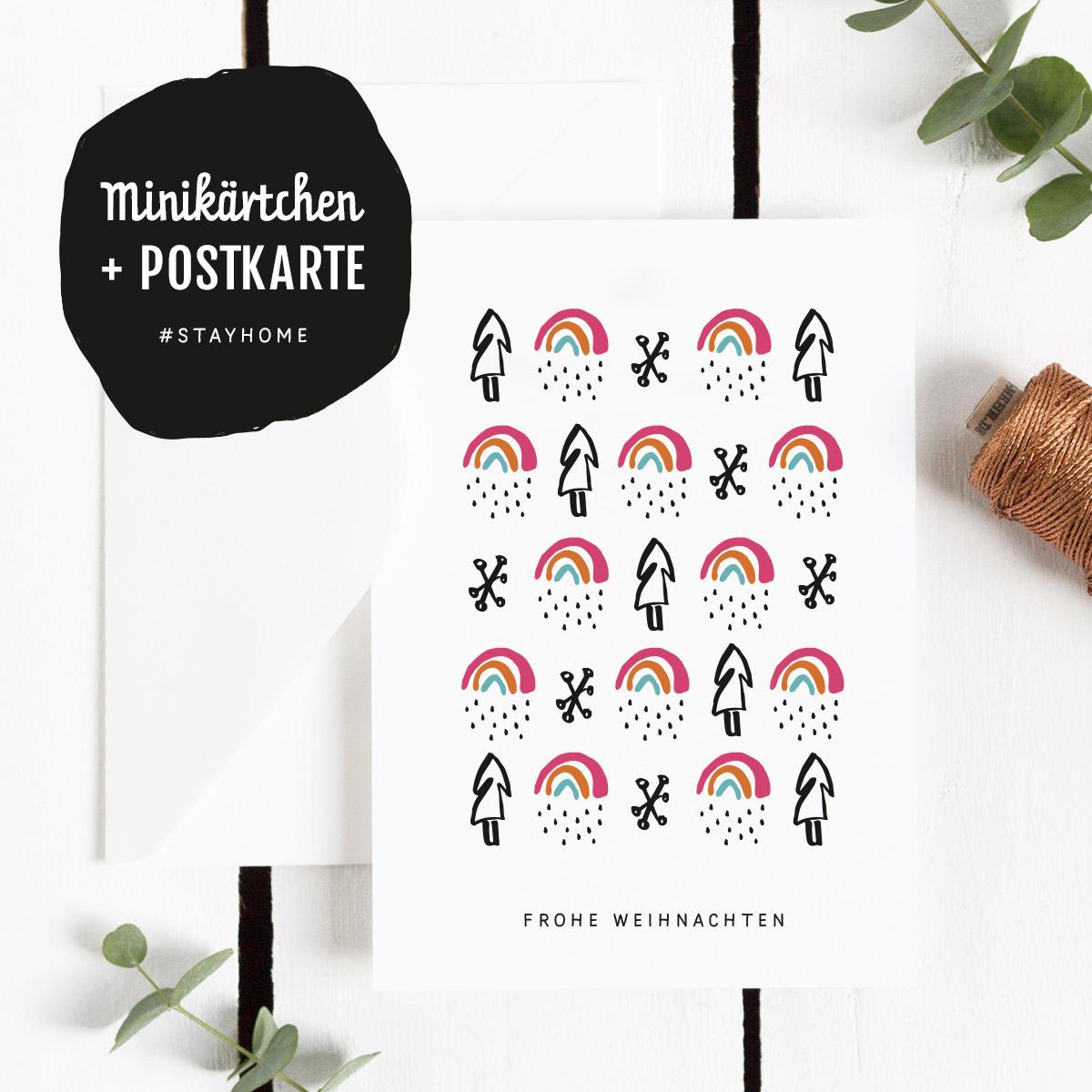 Freebie Postkarte Frohe Weihnachten mit dem Motiv Kleiner Regenbogen