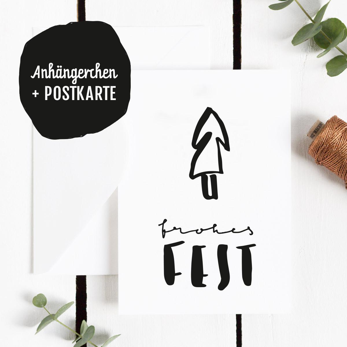 Freebie Postkarte Frohes Fest mit Handlettering in schwarzweiß