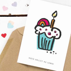 Geburtstagskarte Hoch sollst du Leben Kleine Papeterie