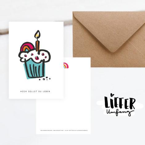 Geburtstagskarte Hoch sollst du Leben Lieferumfang Kleine Papeterie