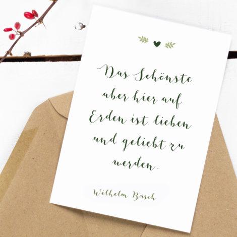 Greenery Postkarte Das Schönste hier auf Erden Kleine Papeterie