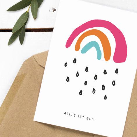 Postkarte Alles ist gut Kleine Papeterie
