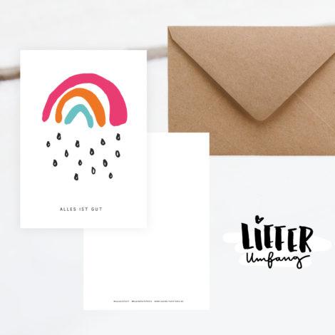 Postkarte Alles ist gut Lieferumfang Kleine Papeterie