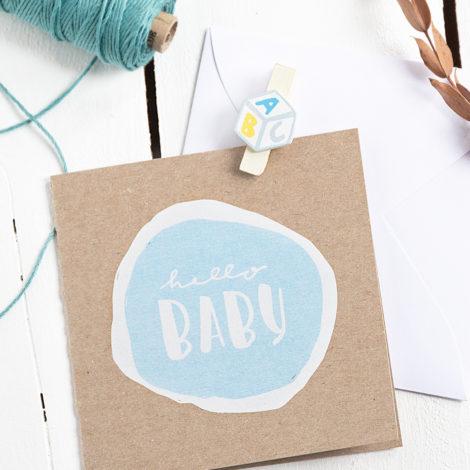 """Karte zur Geburt """"Hello Baby"""" blau Kleine Papeterie"""