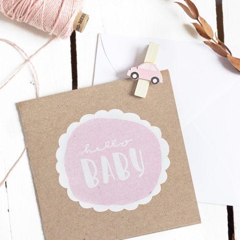 """Karte zur Geburt """"Hello Baby"""" rosa Kleine Papeterie"""