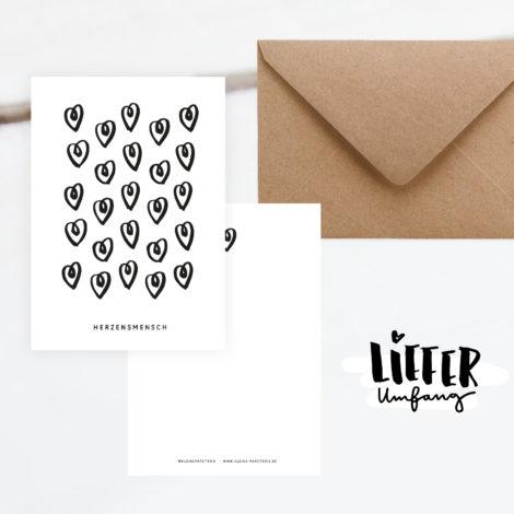 Postkarte Herzensmensch Lieferumfang Kleine Papeterie