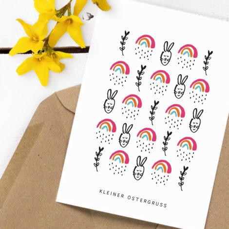 """Postkarte """"Kleiner Ostergruß"""" Kleine Papeterie"""