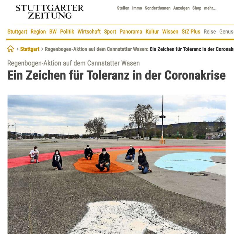 Stuttgarter Zeitung Regenbogen-Aktion auf dem Cannstatter Wasen