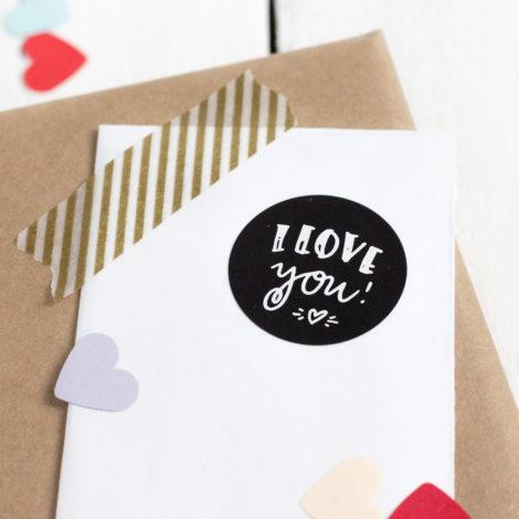 Sticker I love you handgelettert im Detail Kleine Papeterie