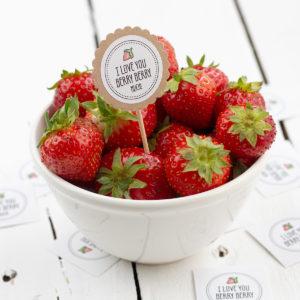 Obststicker I love you berry berry much Erdbeere Kleine Papeterie