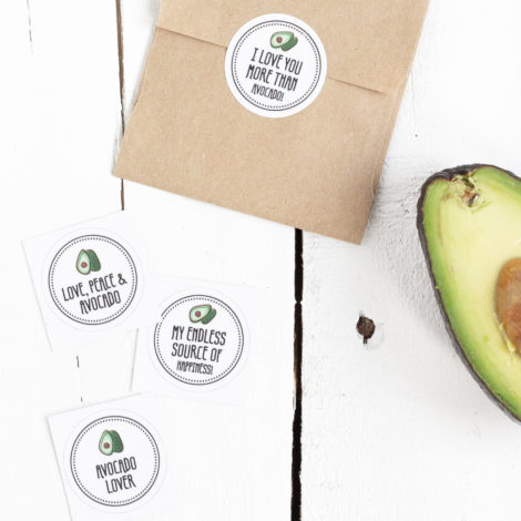 Obststicker Love Peace Avocado Details Kleine Papeterie