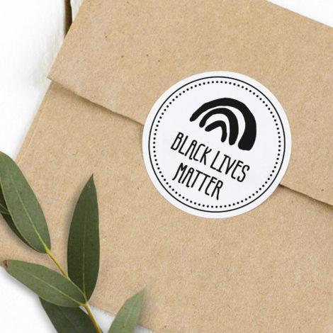 Spenden-Sticker Black Lives Matter rund Kleine Papeterie