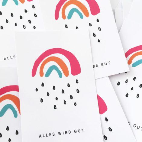 Sticker Alles wird gut Kleiner Regenbogen rechteckig Kleine Papeterie