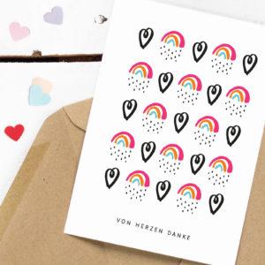 Dankeskarte von Herzen Kleine Papeterie