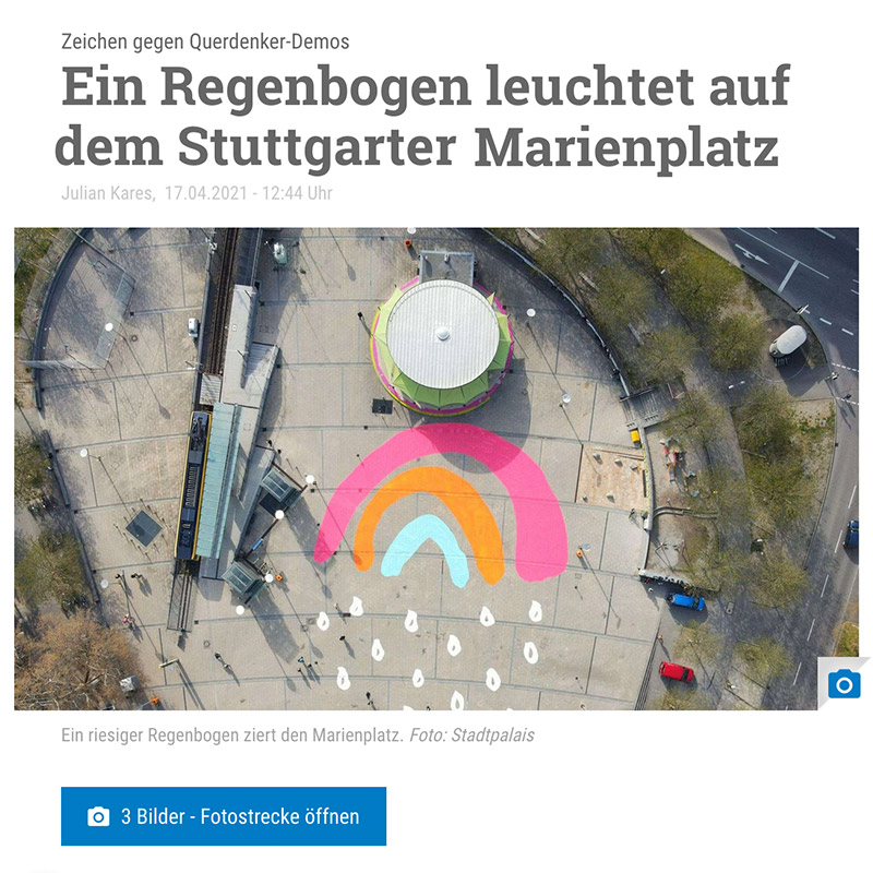 Stuttgarter Nachrichten Kleiner Regenbogen auf dem Marienplatz