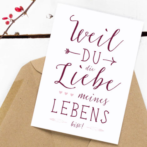 Postkarte im Boho-Look Liebe meines Lebens von Kleine Papeterie