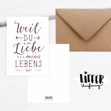 Postkarte im Boho-Look Liebe meines Lebens Lieferumfang von Kleine Papeterie